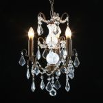 3 Arm Light CUT GLASS Crystal Chandelier Hanging Pendant French Antique Gold